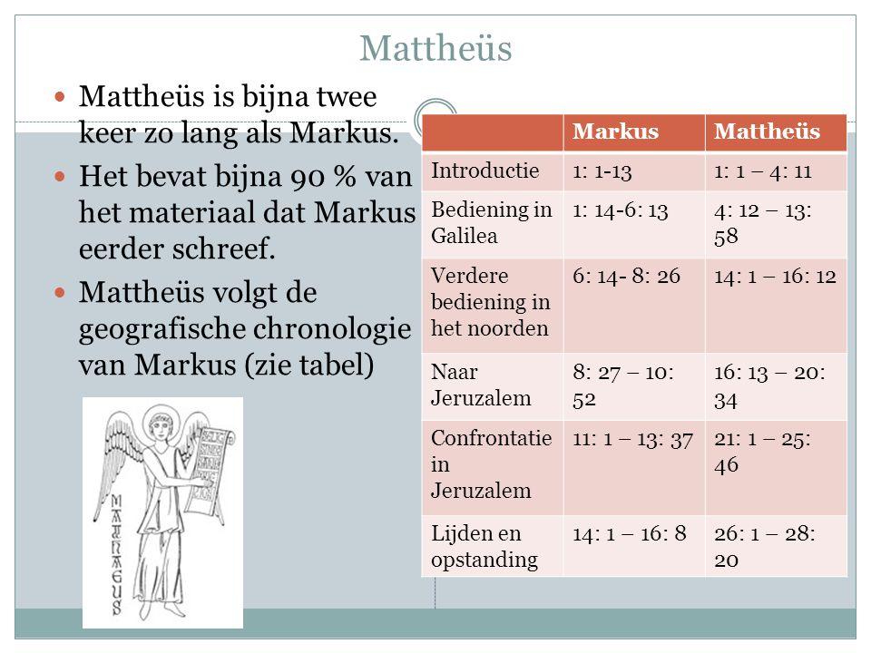 Mattheüs Mattheüs is bijna twee keer zo lang als Markus. Het bevat bijna 90 % van het materiaal dat Markus eerder schreef. Mattheüs volgt de geografis