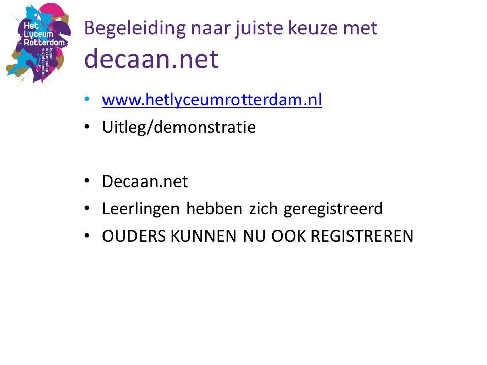 Begeleiding naar juiste keuze met decaan.net www.hetlyceumrotterdam.nl Uitleg/demonstratie Decaan.net Leerlingen hebben zich geregistreerd OUDERS KUNN