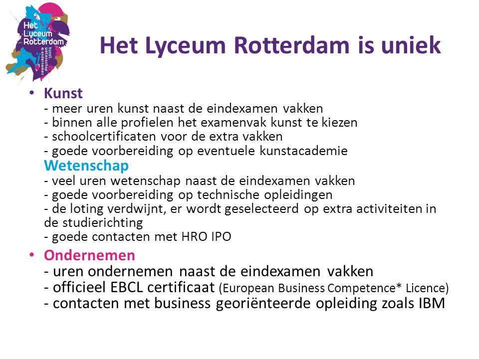 Het Lyceum Rotterdam is uniek Kunst - meer uren kunst naast de eindexamen vakken - binnen alle profielen het examenvak kunst te kiezen - schoolcertifi