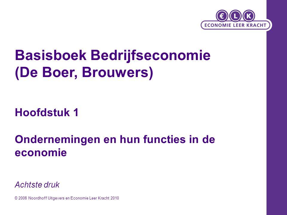 Basisboek Bedrijfseconomie (De Boer, Brouwers) Hoofdstuk 1 Ondernemingen en hun functies in de economie Achtste druk © 2008 Noordhoff Uitgevers en Eco