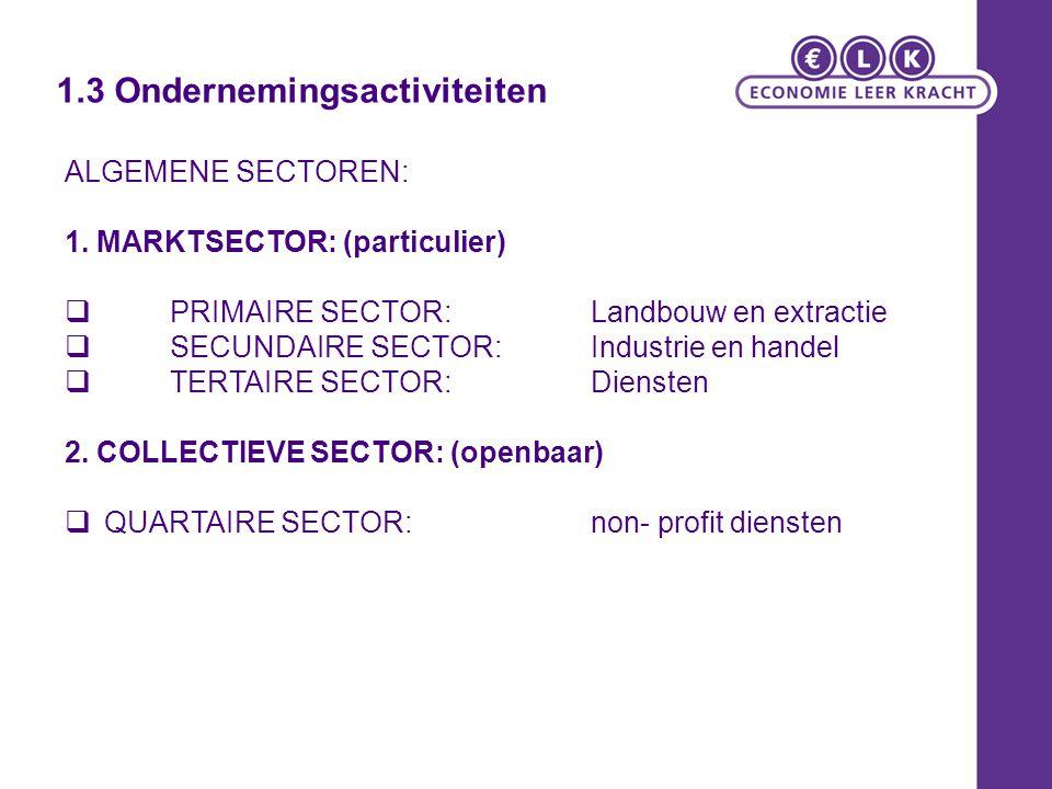 ALGEMENE SECTOREN: 1. MARKTSECTOR: (particulier)  PRIMAIRE SECTOR: Landbouw en extractie  SECUNDAIRE SECTOR: Industrie en handel  TERTAIRE SECTOR: