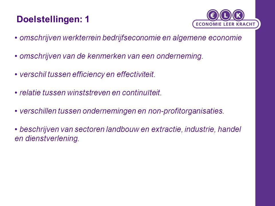 Doelstellingen: 1 omschrijven werkterrein bedrijfseconomie en algemene economie omschrijven van de kenmerken van een onderneming. verschil tussen effi