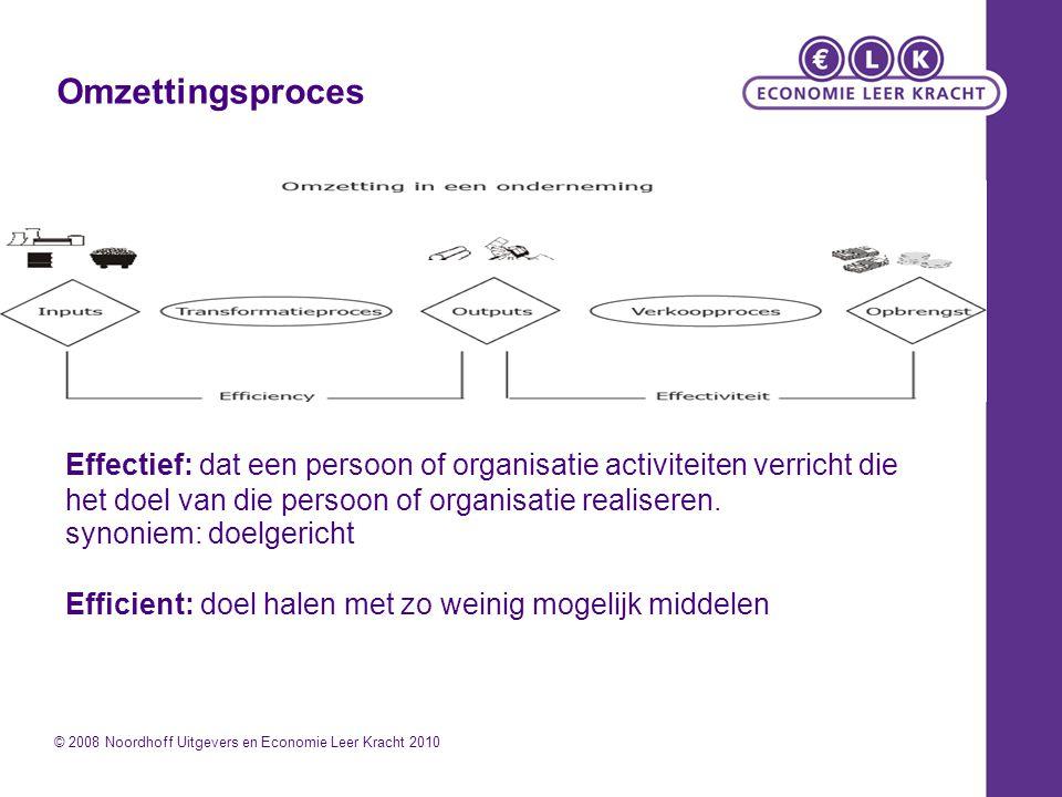 Omzettingsproces © 2008 Noordhoff Uitgevers en Economie Leer Kracht 2010 Effectief: dat een persoon of organisatie activiteiten verricht die het doel