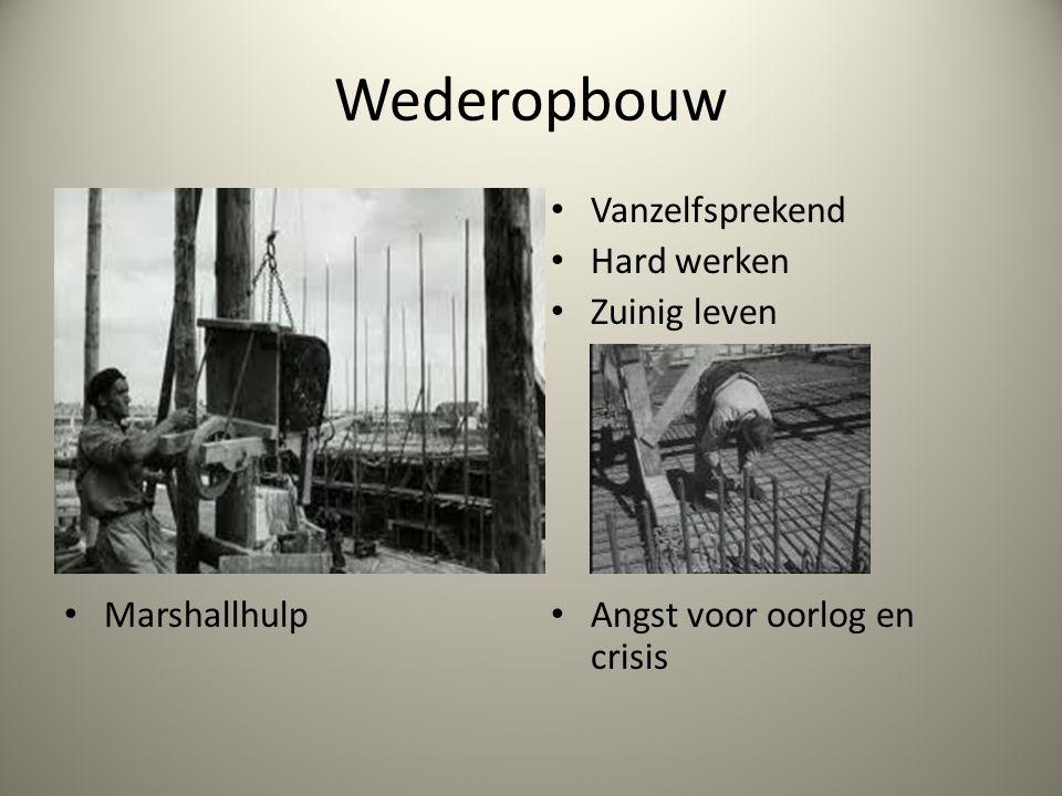 Wederopbouw Marshallhulp Vanzelfsprekend Hard werken Zuinig leven Angst voor oorlog en crisis