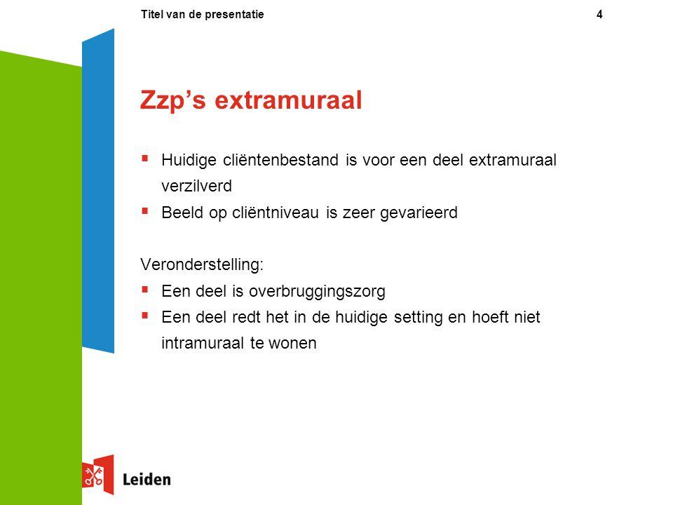 Zzp's extramuraal  Huidige cliëntenbestand is voor een deel extramuraal verzilverd  Beeld op cliëntniveau is zeer gevarieerd Veronderstelling:  Een