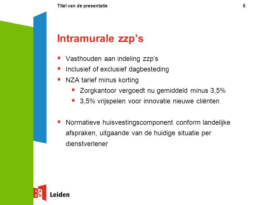Intramurale zzp's  Vasthouden aan indeling zzp's  Inclusief of exclusief dagbesteding  NZA tarief minus korting  Zorgkantoor vergoedt nu gemiddeld