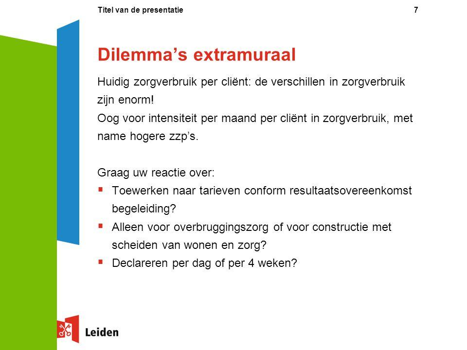 Dilemma's extramuraal Huidig zorgverbruik per cliënt: de verschillen in zorgverbruik zijn enorm! Oog voor intensiteit per maand per cliënt in zorgverb
