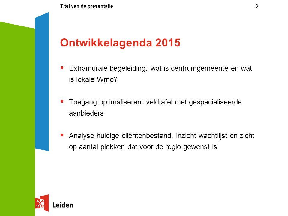 Ontwikkelagenda 2015  Extramurale begeleiding: wat is centrumgemeente en wat is lokale Wmo?  Toegang optimaliseren: veldtafel met gespecialiseerde a