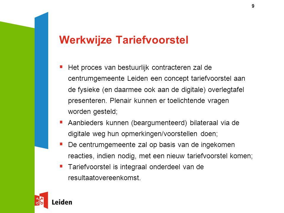 9 Werkwijze Tariefvoorstel  Het proces van bestuurlijk contracteren zal de centrumgemeente Leiden een concept tariefvoorstel aan de fysieke (en daarm