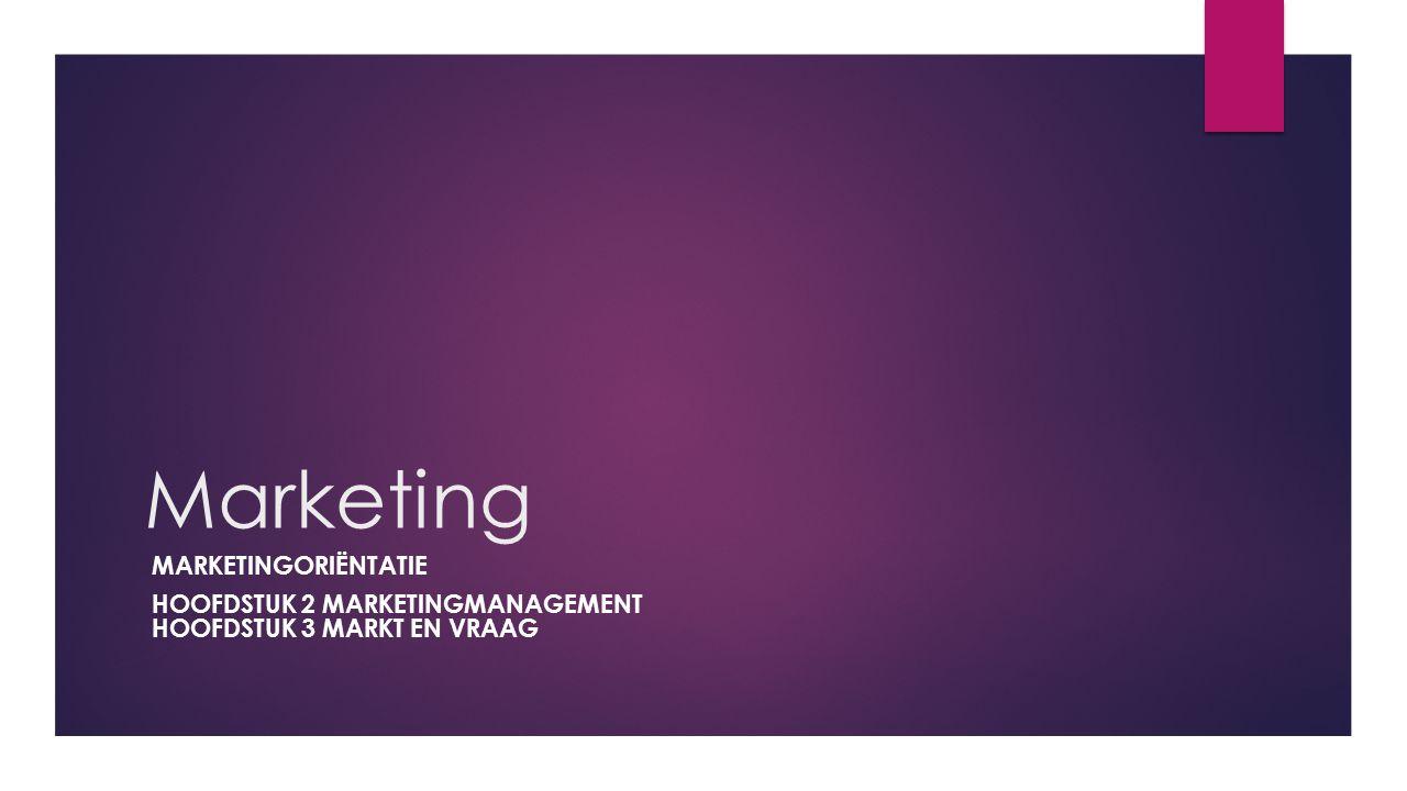 Marketing MARKETINGORIËNTATIE HOOFDSTUK 2 MARKETINGMANAGEMENT HOOFDSTUK 3 MARKT EN VRAAG