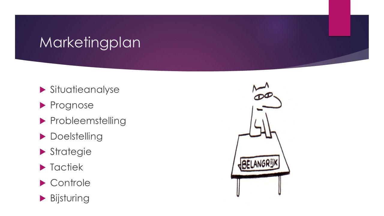 Marketingplan  Situatieanalyse  Prognose  Probleemstelling  Doelstelling  Strategie  Tactiek  Controle  Bijsturing