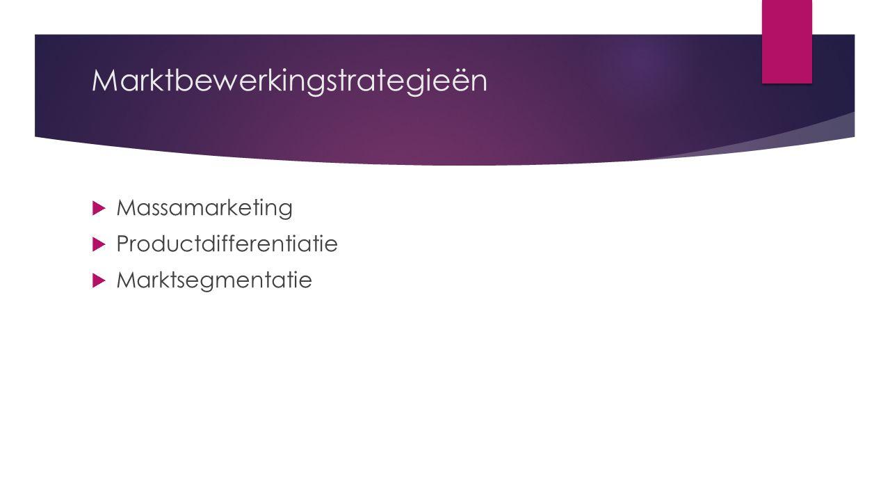 Marktbewerkingstrategieën  Massamarketing  Productdifferentiatie  Marktsegmentatie