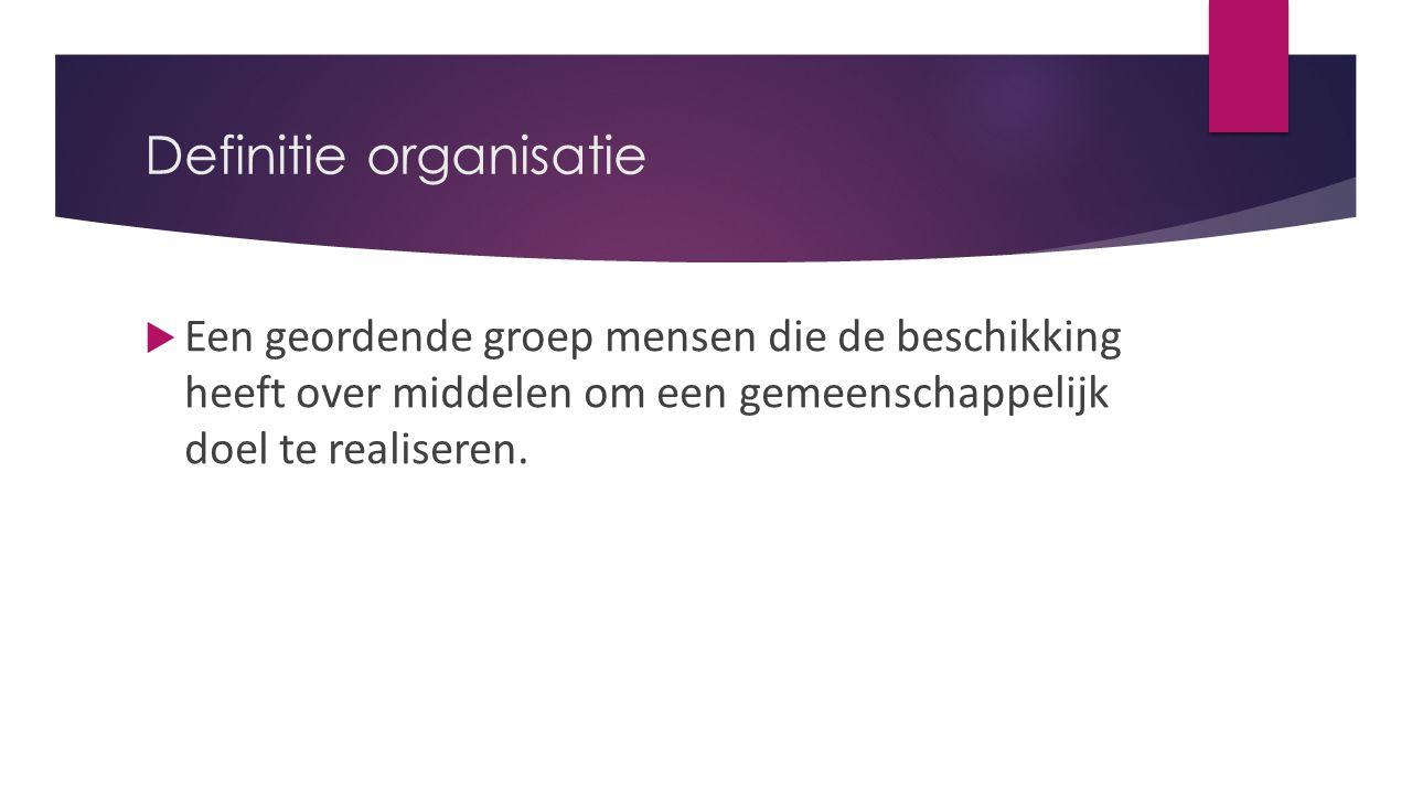 Definitie organisatie  Een geordende groep mensen die de beschikking heeft over middelen om een gemeenschappelijk doel te realiseren.