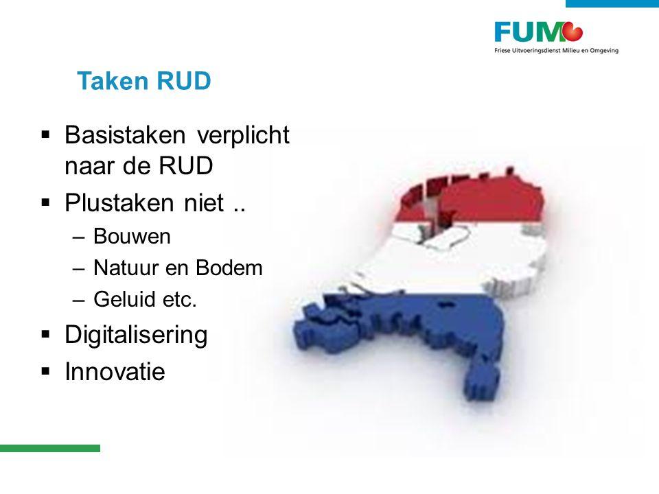 Taken RUD  Basistaken verplicht naar de RUD  Plustaken niet..