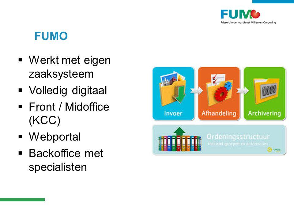 FUMO  Werkt met eigen zaaksysteem  Volledig digitaal  Front / Midoffice (KCC)  Webportal  Backoffice met specialisten