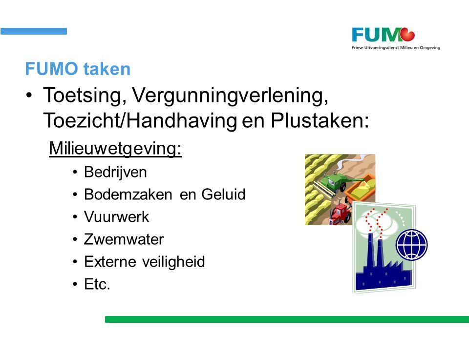 FUMO taken Toetsing, Vergunningverlening, Toezicht/Handhaving en Plustaken: Milieuwetgeving: Bedrijven Bodemzaken en Geluid Vuurwerk Zwemwater Externe veiligheid Etc.