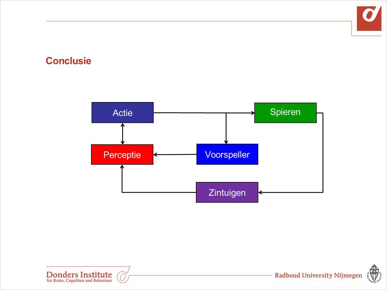 Model Actie Spieren Voorspeller Actie selectie (kosten/baten) Voorspellingen Frontale schors Parietale schors Cerebellum Zien Tast Evenwicht Perceptie Motorisch signaal Zintuigen Metingen Cc: Kennis