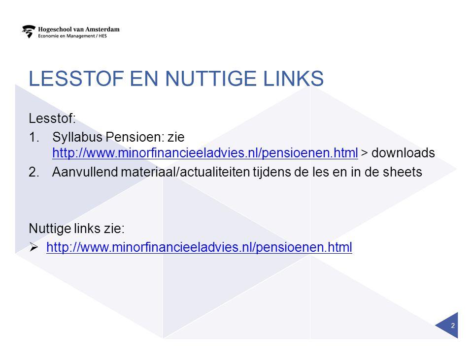 LESSTOF EN NUTTIGE LINKS Lesstof: 1.Syllabus Pensioen: zie http://www.minorfinancieeladvies.nl/pensioenen.html > downloads http://www.minorfinancieela