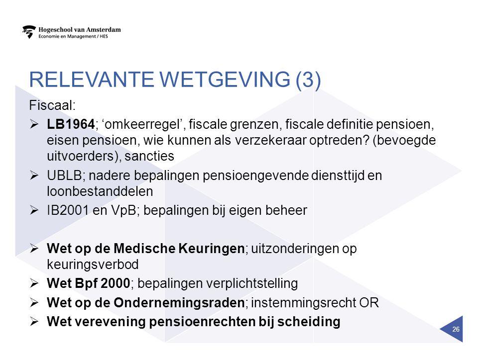 RELEVANTE WETGEVING (3) Fiscaal:  LB1964; 'omkeerregel', fiscale grenzen, fiscale definitie pensioen, eisen pensioen, wie kunnen als verzekeraar optr