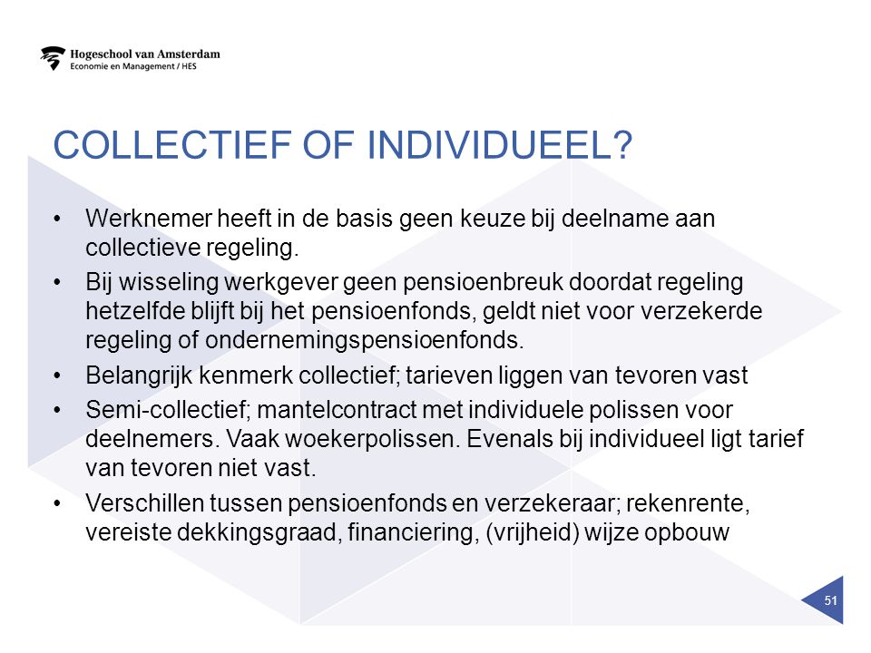 COLLECTIEF OF INDIVIDUEEL.