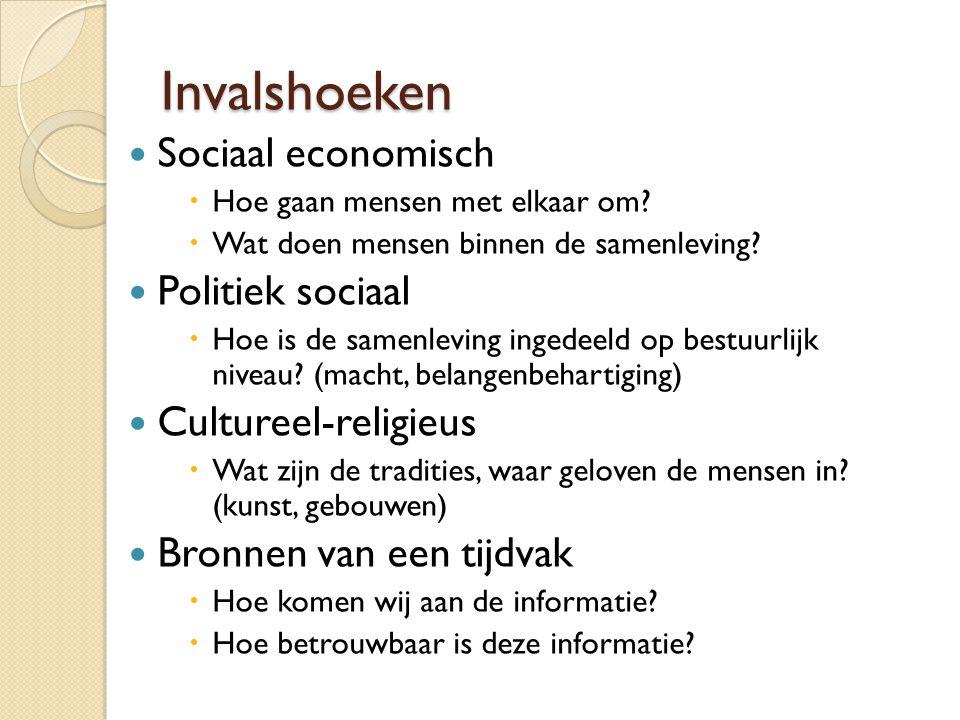 Invalshoeken Sociaal economisch  Hoe gaan mensen met elkaar om?  Wat doen mensen binnen de samenleving? Politiek sociaal  Hoe is de samenleving ing