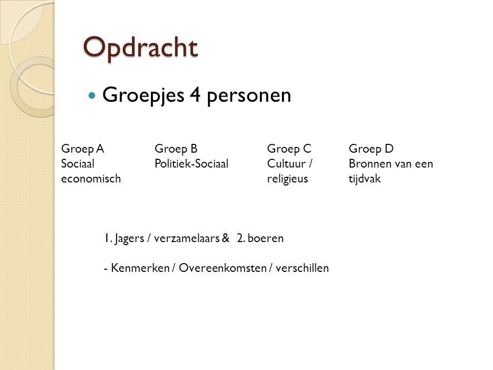 Opdracht Groepjes 4 personen Groep A Sociaal economisch 1. Jagers / verzamelaars & 2. boeren - Kenmerken / Overeenkomsten / verschillen Groep B Politi