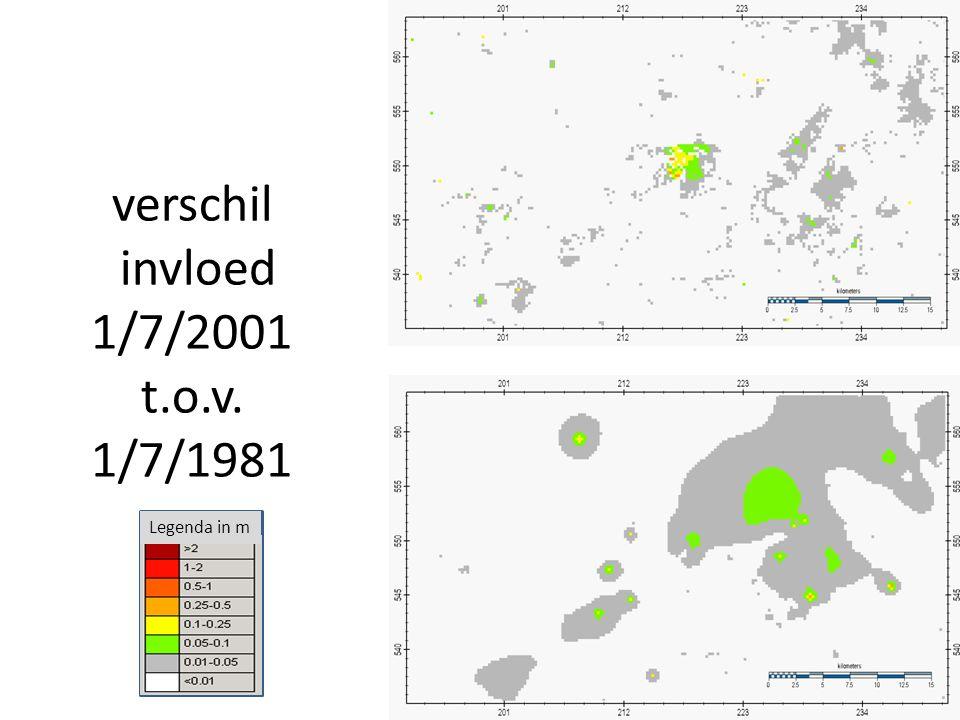 verschil invloed 1/7/2001 t.o.v. 1/7/1981 Legenda in m