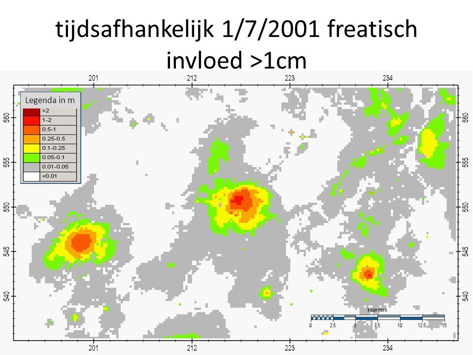 tijdsafhankelijk 1/7/2001 freatisch invloed >1cm Legenda in m