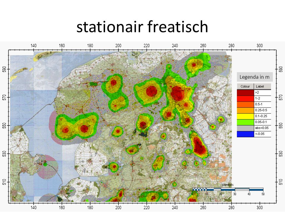 stationair freatisch Legenda in m