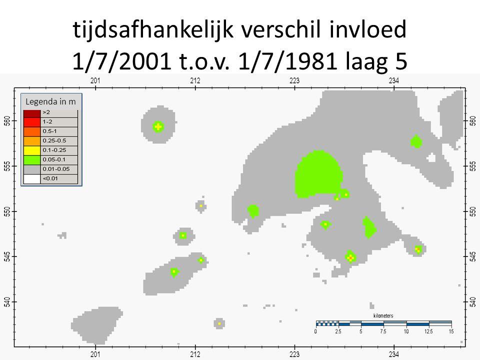 tijdsafhankelijk verschil invloed 1/7/2001 t.o.v. 1/7/1981 laag 5 Legenda in m