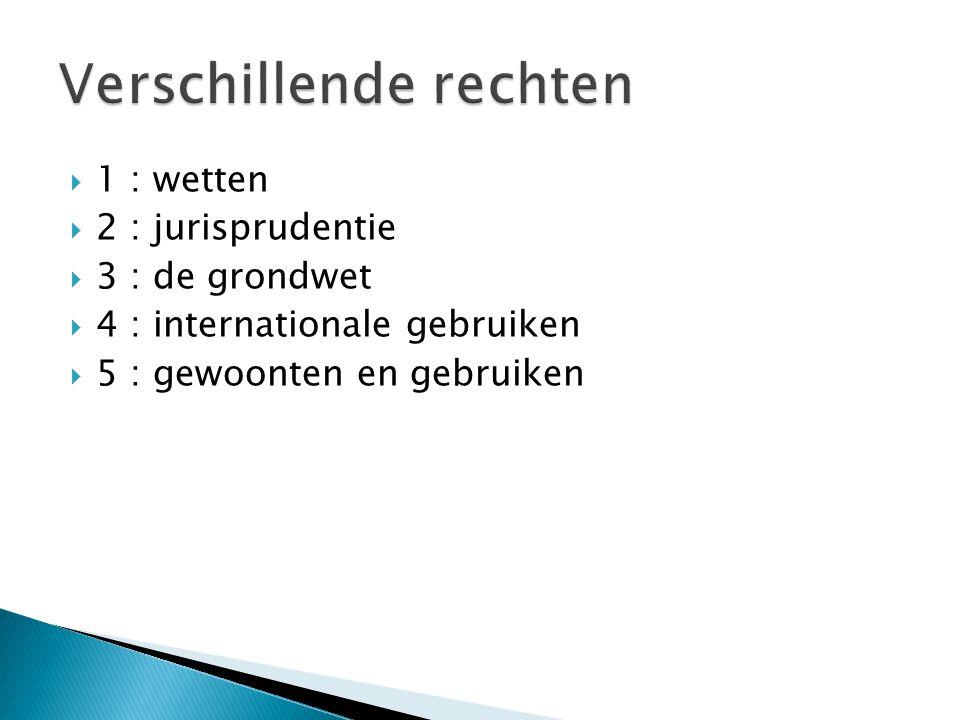  1 : wetten  2 : jurisprudentie  3 : de grondwet  4 : internationale gebruiken  5 : gewoonten en gebruiken