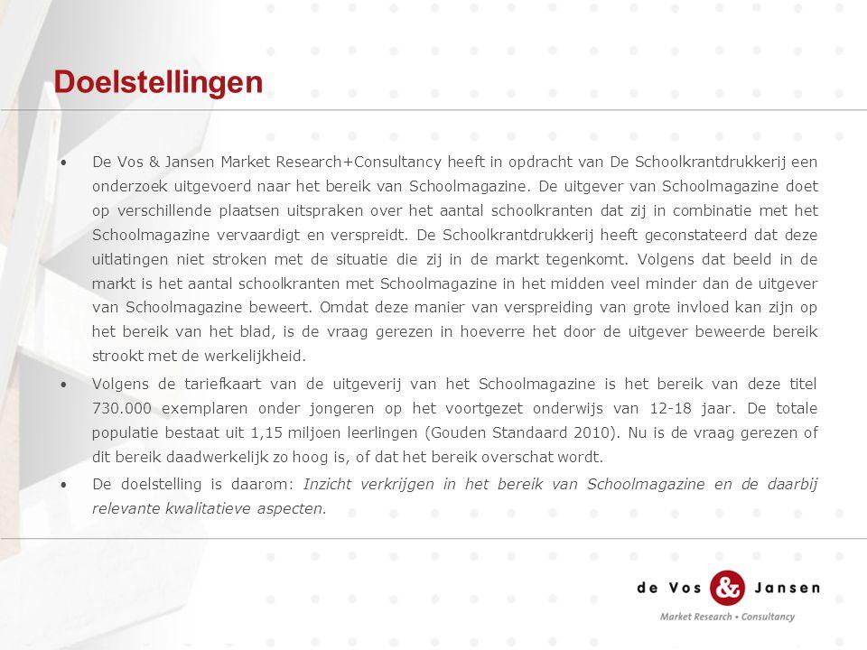 Doelstellingen De Vos & Jansen Market Research+Consultancy heeft in opdracht van De Schoolkrantdrukkerij een onderzoek uitgevoerd naar het bereik van Schoolmagazine.