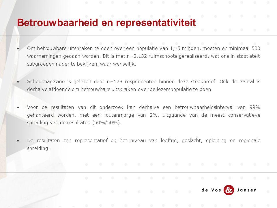 Betrouwbaarheid en representativiteit Om betrouwbare uitspraken te doen over een populatie van 1,15 miljoen, moeten er minimaal 500 waarnemingen gedaan worden.