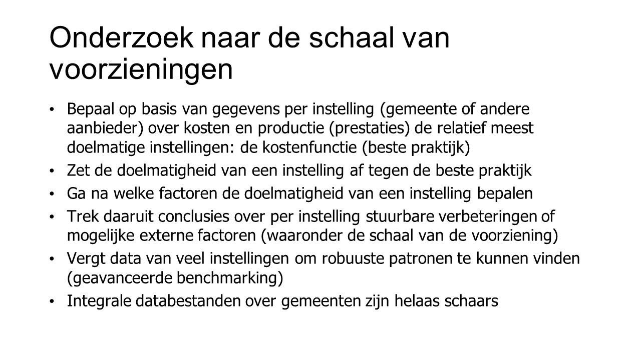 Onderzoek naar de schaal van voorzieningen Bepaal op basis van gegevens per instelling (gemeente of andere aanbieder) over kosten en productie (presta