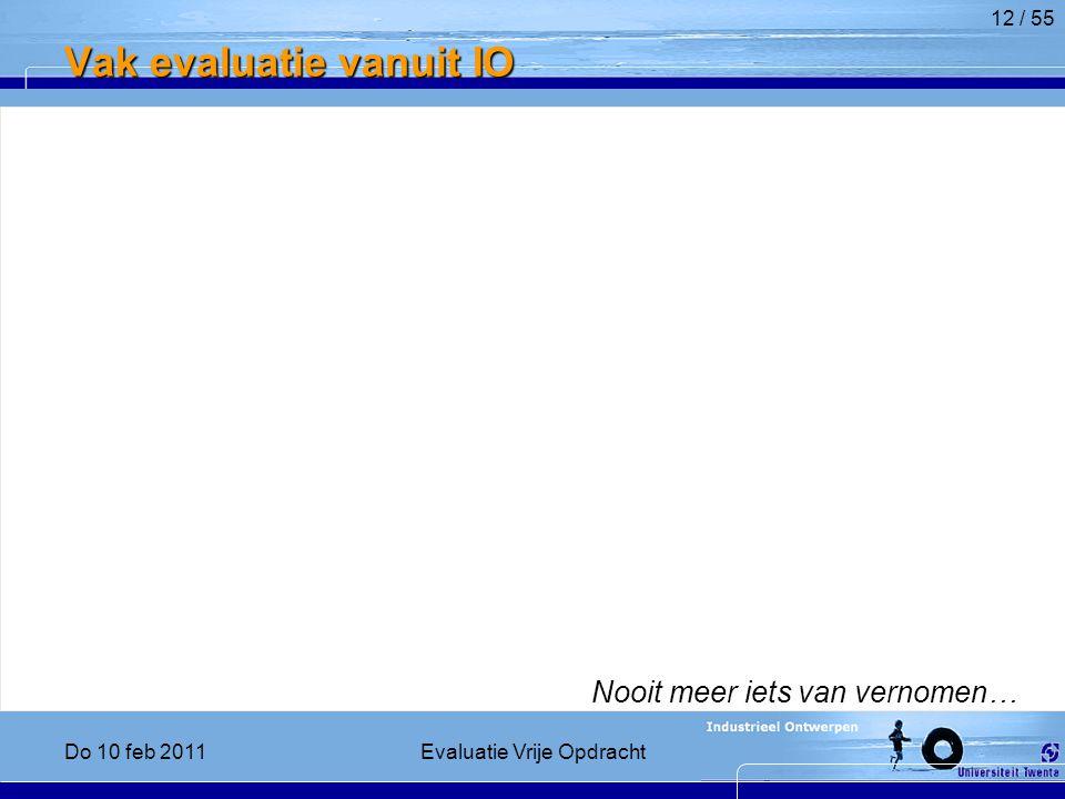 Vak evaluatie vanuit IO Nooit meer iets van vernomen… 12 / 55 Do 10 feb 2011Evaluatie Vrije Opdracht