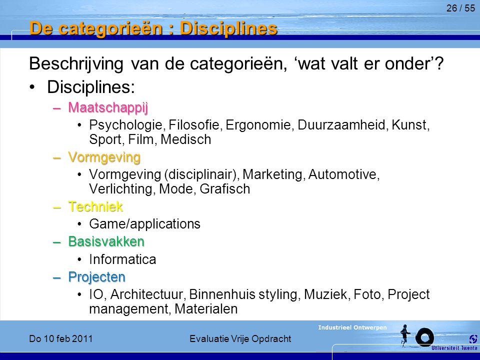 De categorieën : Disciplines Beschrijving van de categorieën, 'wat valt er onder'.
