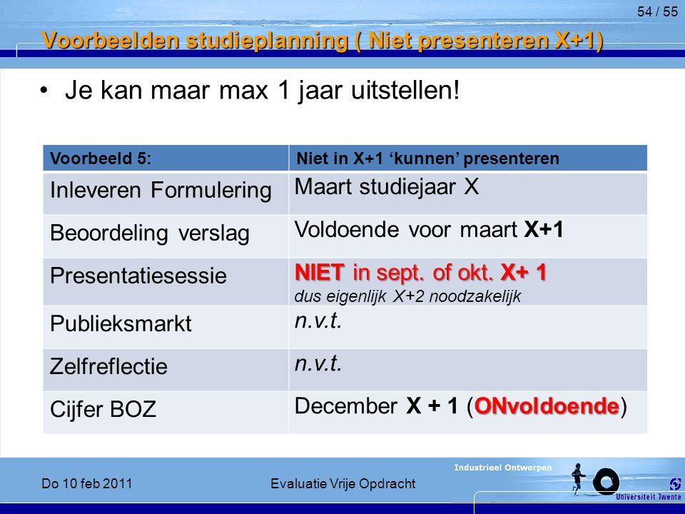 Voorbeelden studieplanning ( Niet presenteren X+1) Je kan maar max 1 jaar uitstellen.