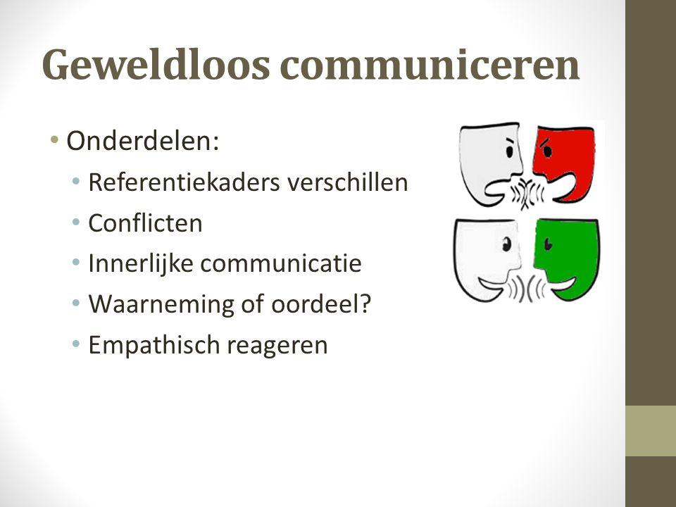 Geweldloos communiceren Onderdelen: Referentiekaders verschillen Conflicten Innerlijke communicatie Waarneming of oordeel.