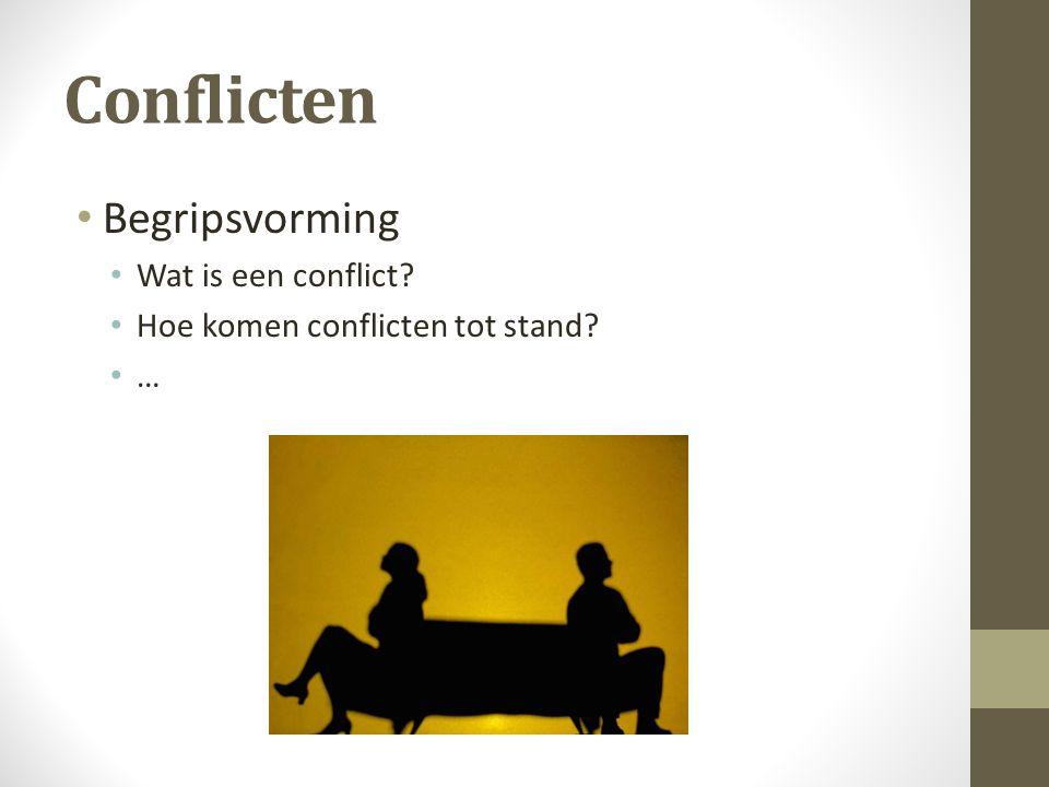 Conflicten Begripsvorming Wat is een conflict? Hoe komen conflicten tot stand? …