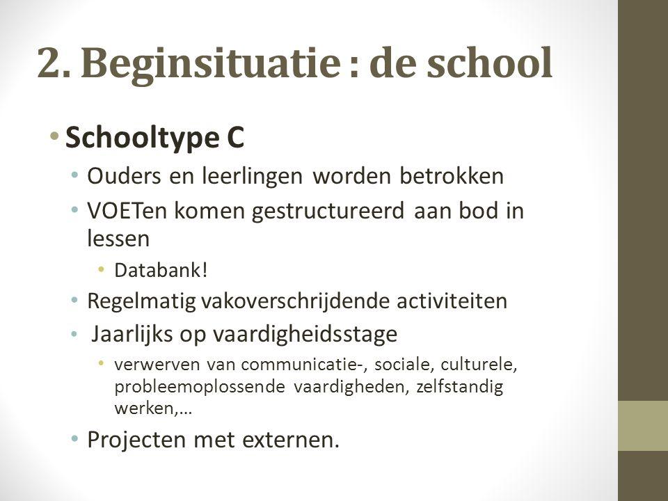 2. Beginsituatie : de school Schooltype C Ouders en leerlingen worden betrokken VOETen komen gestructureerd aan bod in lessen Databank! Regelmatig vak