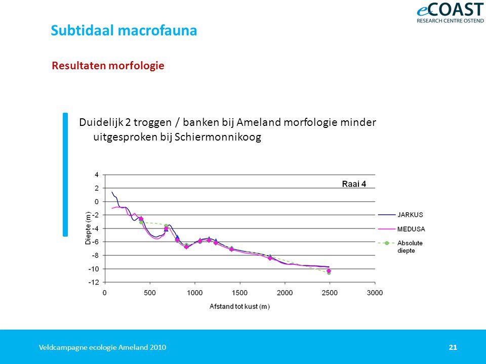 21Veldcampagne ecologie Ameland 2010 Resultaten morfologie Duidelijk 2 troggen / banken bij Ameland morfologie minder uitgesproken bij Schiermonnikoog Subtidaal macrofauna