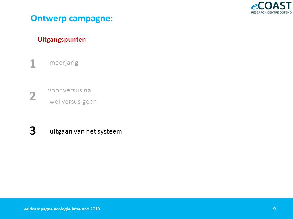 9Veldcampagne ecologie Ameland 2010 Ontwerp campagne: Uitgangspunten meerjarig voor versus na wel versus geen 1 2 uitgaan van het systeem 3