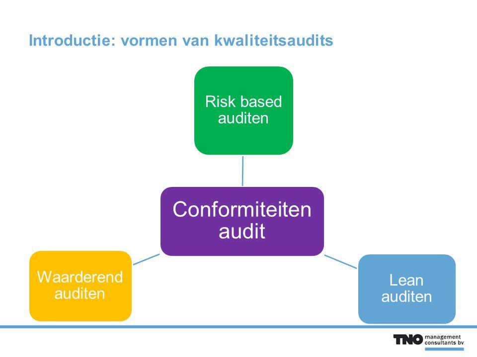Introductie: vormen van kwaliteitsaudits Conformiteiten audit Risk based auditen Lean auditen Waarderend auditen