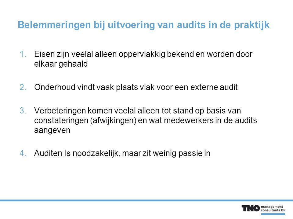 Belemmeringen bij uitvoering van audits in de praktijk 1.Eisen zijn veelal alleen oppervlakkig bekend en worden door elkaar gehaald 2.Onderhoud vindt vaak plaats vlak voor een externe audit 3.Verbeteringen komen veelal alleen tot stand op basis van constateringen (afwijkingen) en wat medewerkers in de audits aangeven 4.Auditen Is noodzakelijk, maar zit weinig passie in