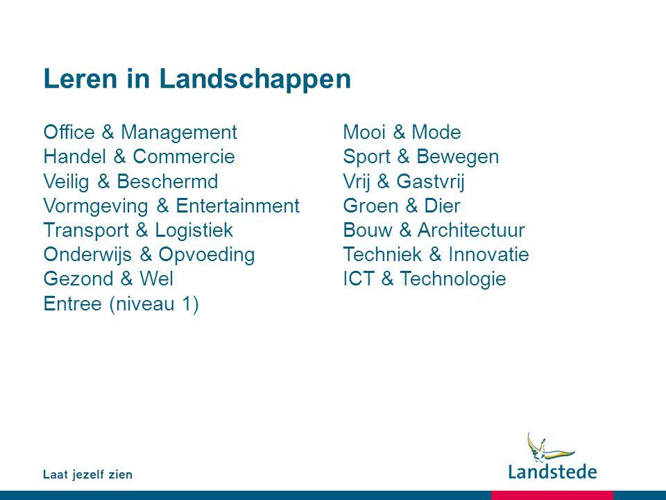 Leren in Landschappen Office & ManagementMooi & Mode Handel & CommercieSport & Bewegen Veilig & BeschermdVrij & Gastvrij Vormgeving & EntertainmentGro