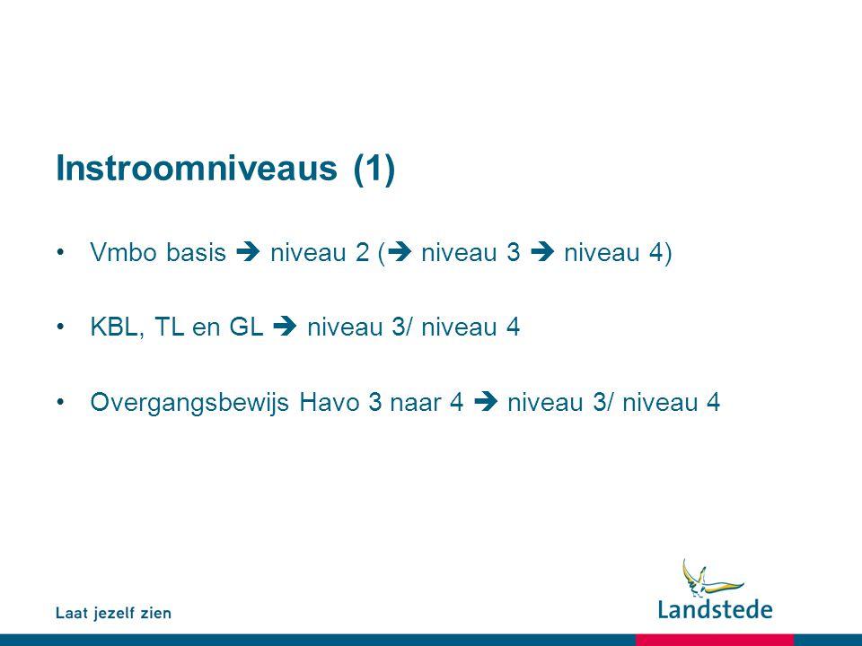 Instroomniveaus (1) Vmbo basis  niveau 2 (  niveau 3  niveau 4) KBL, TL en GL  niveau 3/ niveau 4 Overgangsbewijs Havo 3 naar 4  niveau 3/ niveau