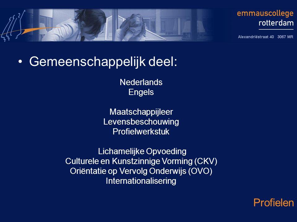Gemeenschappelijk deel: Profielen Nederlands Engels Maatschappijleer Levensbeschouwing Profielwerkstuk Lichamelijke Opvoeding Culturele en Kunstzinnige Vorming (CKV) Oriëntatie op Vervolg Onderwijs (OVO) Internationalisering
