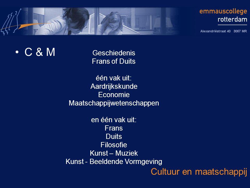 C & M Cultuur en maatschappij Geschiedenis Frans of Duits één vak uit: Aardrijkskunde Economie Maatschappijwetenschappen en één vak uit: Frans Duits Filosofie Kunst – Muziek Kunst - Beeldende Vormgeving