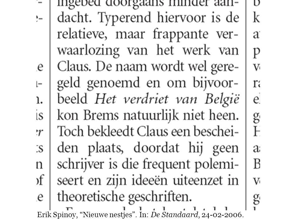 """Erik Spinoy, """"Nieuwe nestjes"""". In: De Standaard, 24-02-2006."""