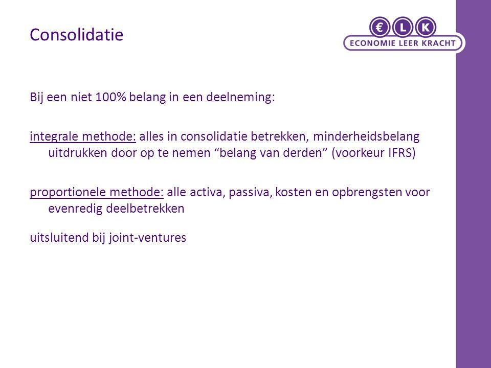 Consolidatie Bij een niet 100% belang in een deelneming: integrale methode: alles in consolidatie betrekken, minderheidsbelang uitdrukken door op te n